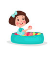 sweet brunette little girl playing in pool with vector image vector image