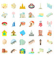 tall building icons set cartoon style vector image vector image