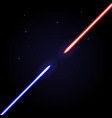 Two glowing swords opposed to each other on cosmic vector image vector image