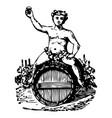 vintage engraving set an angel on wine barrels vector image