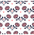 vintage roses background with hearts floral vector image