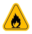 Warning icons in yellow triangle Fire dangerous vector image vector image