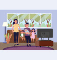 woman and man with baand kids in sofa vector image