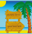 wooden signs on background palm trees vector image vector image