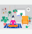 young woman sits with crossed legs and meditates vector image