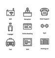 9 hotel line icons vector image vector image