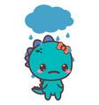 a dinosaur sad girl bad day vector image