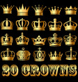 a set of gold crowns on a black background vector image vector image