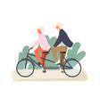active grandparents ride tandem bike in summer vector image