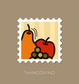 apple grapes and pear stamp thanksgiving vector image vector image