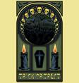 art nouveau halloween card skulls candles coffin vector image vector image