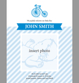 baboy announcement card template with bicycle vector image