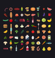 big set colored food icons vector image
