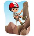 Boy climbing up the mountain vector image vector image