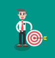businessman hit the target with arrow vector image vector image