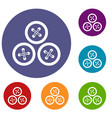 buttons for sewing icons set vector image