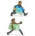 Cartoon thieves with stolen credit cards and money vector image vector image