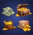 casino 3d signs and money icons dollars vector image vector image