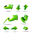 Collection of defference 3D green shine arrow vector image