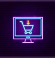 computer shopping cart neon sign vector image vector image
