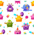 cute funny monsters seamless pattern kids vector image