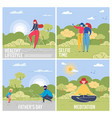 day on nature cards set with people in landscape vector image vector image