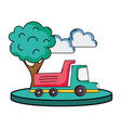 dump truck in the city with clouds and tree vector image