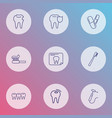 enamel icons line style set with tooth x-ray vector image
