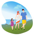 family with child walking near lake or pond vector image vector image