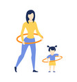 flat girl kid and woman hula hoop exercise vector image vector image
