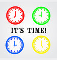 four color time clock ison design and word its vector image vector image
