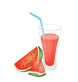 Glass of Red Watermelon Juice and Watermelon Fruit vector image vector image