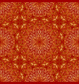 golden mandala seamless pattern on red background vector image