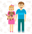 happy children brother of sister and puppy vector image