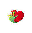 heart care hand support protection logo vector image vector image