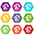 insurance home icons set 9 vector image vector image