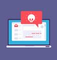 laptop virus alert malware trojan notification on vector image vector image