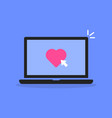 laptop with click on like button vector image vector image