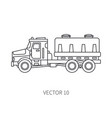 line flat icon construction machinery truck vector image vector image