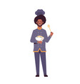 male professional chef cook holding plate with vector image vector image