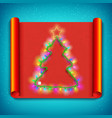 merry christmas curved paper template vector image vector image