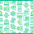 online banking seamless pattern with line icons vector image