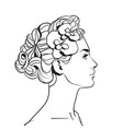profile of beautiful woman with elegant hairstyle vector image vector image