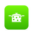 saucepan with white dots icon digital green vector image vector image
