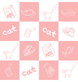 seamless background of products for cats vector image vector image