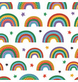 seamless pattern with colorful rainbows vector image vector image
