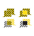 Set of chat bubbles with yellow and black stripes vector image vector image