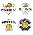 set pizza logo badges banners emblems for vector image