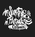 surf paradise lettering t-shirt graphics vector image vector image