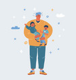 tiered father hold kids vector image vector image